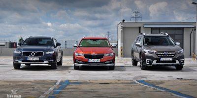 Skoda Superb Scout, Subaru Outback 2021, Volvo V90 CC porównanie uterenowionych kombi